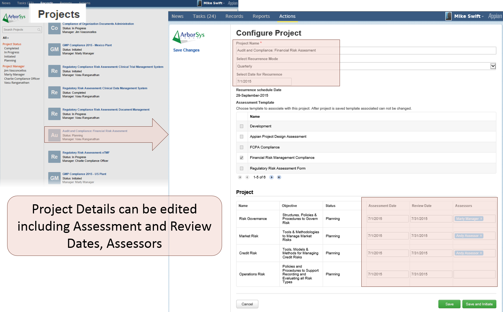 compliance assessment projects list and configuration